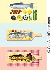 Set of salmon steak recipe , preparation cooking and plating 4