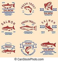 Set of salmon, trout seafood labels. Design element for logo, label, sign, poster, banner.