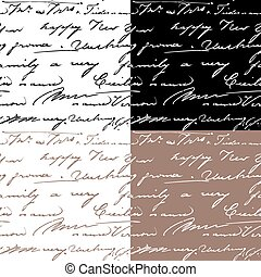 Set of samless patterns with handwriting text. Calligraphy text