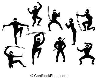 Set of samurai black and white siluet images in action. EPS10 vector illustration