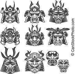 Set of samurai masks and helmets on white background. Design...