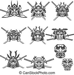 Set of samurai masks and helmets with swords on white...