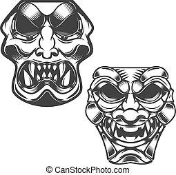 set of samurai masks. Design elements for logo, label, sign....
