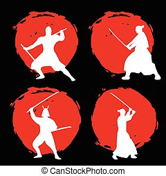 Set of Samurai Warriors Silhouette on red moon and black background.
