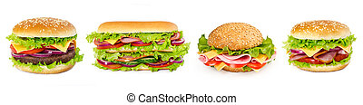 Set of sandwiches isolated on white