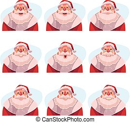 Set of Santa Claus avatars with different emotions