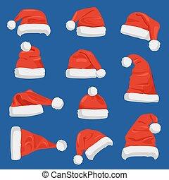 Set of Santa Claus Hats Vector Illustration - Set of Santa...