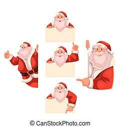 Set of Santa Claus holding a sign, giving thumbs-up