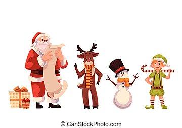 Set of Santa Claus, reindeer, snowman and elf