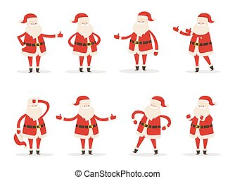 Set of Santa Clauses in Different Pose Vector Icon - Set of...