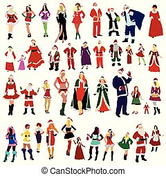 Set of Santa Clauses with woman in New Year Eve dresses