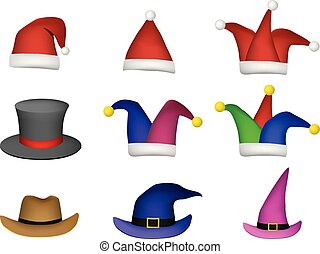 Set of Santa hat and other fashion cap on white