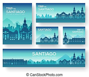Set of Santiago landscape country ornament travel tour concept. Culture traditional, magazine, book, poster, abstract, element. Vector decorative ethnic greeting card or invitation background