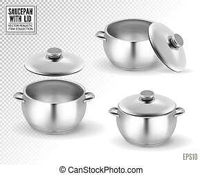 Set of saucepans with lid. Realistic vector, 3d illustration