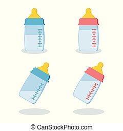 Set of scalable plastic or glass baby bottles with milk