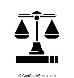 Set of scales black icon, concept illustration, vector flat symbol, glyph sign.