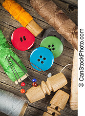 Set of scattered sewing buttons
