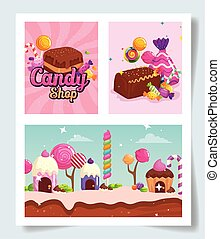 set of scenes with candies