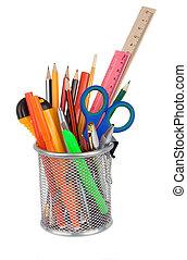 set of school accessories in holder basket on white