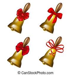 Set of school bells with red bows