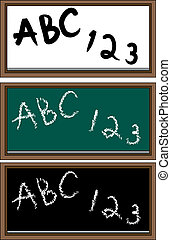 Set of School Boards with dry erase, green and black chalk...