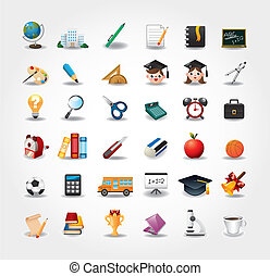 set of school icons, back to school button