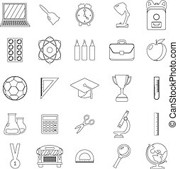 Set of school icons. Outline and line style. White background. Vector illustration.