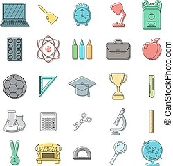 Set of school icons. Outline, doodle style. White background. Vector illustration.