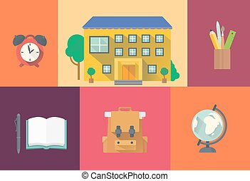 Set of school icons.