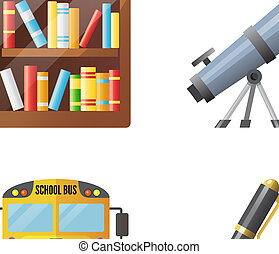 Set of school icons, shool supplies and transport