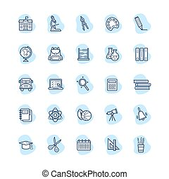 Set of school icons, vector illustration