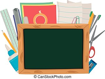 Set of School Items and Blank Board