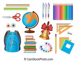 Set of school items, isolated vector illustration