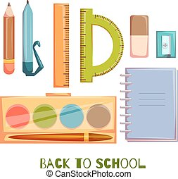 Set of school objects. Vector illustration