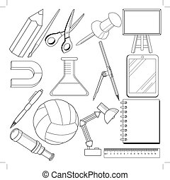 set of school related objects
