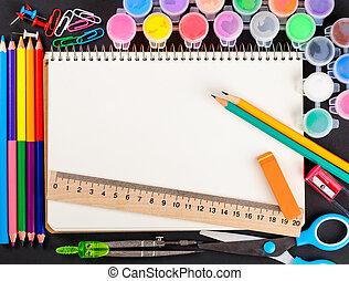 set of school stationery