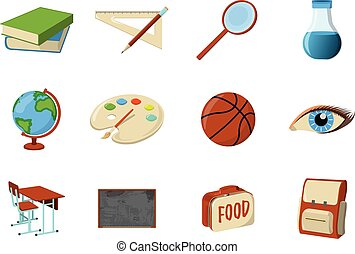 Set of School Supplies Icon and Logo. Isolated design element. Vector Cartoon illustration