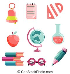 Set of school supplies icon. Vector illustrations isolated on white background