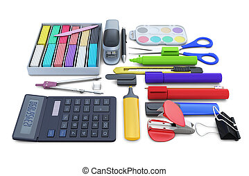 Set of school supplies isolated on white background
