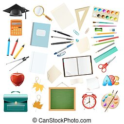Set of school supplies isolated on white. Education workplace accessories. vector illustration