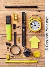 Set of school supplies, top view.