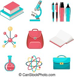 Set of school supplies. Vector