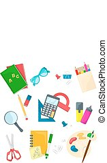 Set of school supplies. Vector icon on white background. Cartoon style.