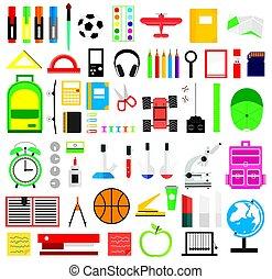 Set of school supplies. Vector illustration.