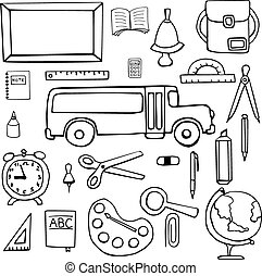 Set of school symbols, signs hand drawn