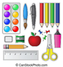 Set of School Tools and Supplies. Vector illustration.