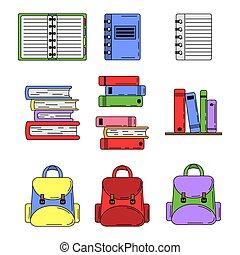 Set of school tools in cartoon style
