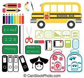 Set of School Tools Symbols and Icons
