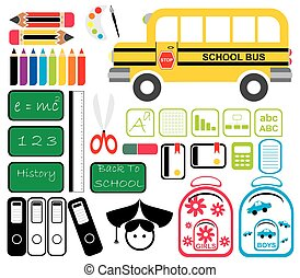 Set of School Tools Symbols and Icons