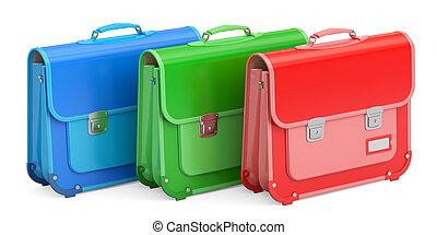 Set of schoolbags, briefcases. 3D rendering